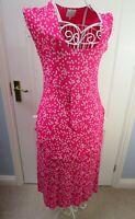 MASAI CLOTHING COMPANY Pink White Floral Dress Pockets Size XS UK 8 10 Pinafore