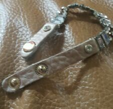 Leather pastel pink studded bracelet with clear rhinestones