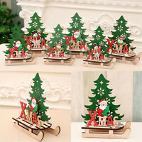 Christmas Tree Elk Sled Snowman Wooden Ornaments Home Xmas Party Table Decor S L