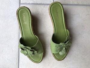 Lotus Green Wedge Sandals