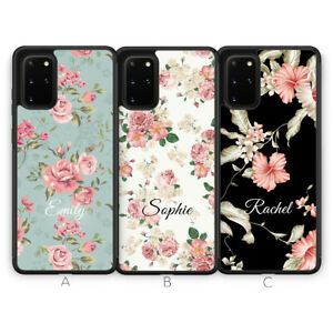 Samsung Galaxy S21 Plus Ultra S20 S10 Phone Case Personalised Floral Flower Name