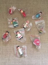 Vtg 80's Wooden Christmas Ornaments Collection Of 10