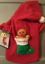 Zack & Zoey GINGERBREAD MAN Fleece Hood Dog Coat XS with Toy ON SALE 50% OFF