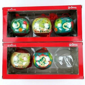 The Grinch Who Stole Christmas 5 Round Hallmark Ornaments In Box Dr. Seuss 2013