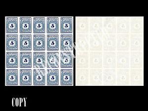 USA 1850 HAWAII MISIONARY ,-5¢ BLUE,PANE OF 20 PHILATELY RARITY,$3000000,COPY