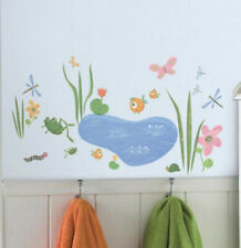 Hoppy Pond wall stickers 40 decals bathroom decor frog turtles fish dragonfly +