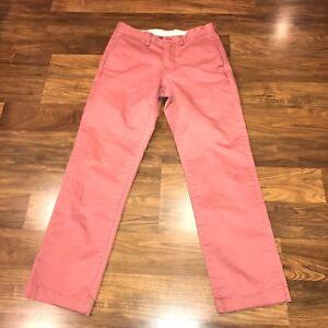 Mens 28 28 J.CREW Pants BROKEN-IN Chino Flat Front URBAN SLIM Khaki Cotton Pink