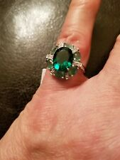 3.05 CT RUSSIAN EMERALD & DIAMOND 10KT SOLID WHITE GOLD RING SIZE 7