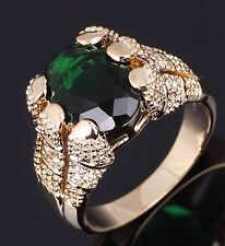 Elegant Jewelry Size 11 Emerald Cut Emerald 10KT Gold Filled Nobby Ring For Mens