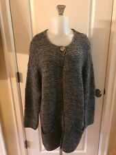 J JILL Wool Mohair Cashmere Blend Gray Black Cardigan Sweater Coat Soft Sz L