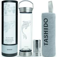 Glass Bottle Double Wall Infuser for Hot Tea Coffee Cold Drinks Fruit, 14oz.