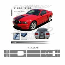 Ford Mustang GT 2005-2009 w/ Hood Scoop Stripes Graphic Kit - Metallic Silver