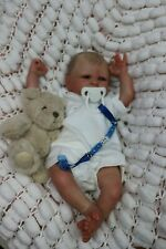 "REBORN BABY BOY BLUE EYED DOLL PREEMIE 16"" PREMATURE ARTIST OF 9yrs SUNBEAMBIES"