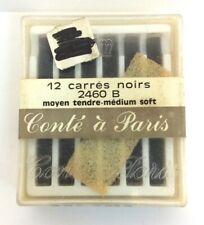 Vintage Conte a Paris black charcoal crayons medium soft box of 12 2460 b