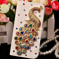 New Diamonds Crystal Peacock Leather Flip slots Wallet Phone Cover skin Case Y9