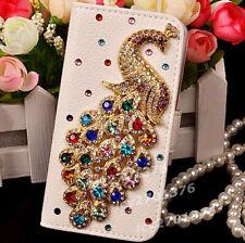 NUOVO Diamanti Cristallo Pavone in Pelle Flip Portafoglio slot telefono copertura pelle caso Y9