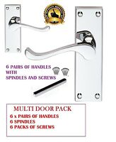 6 x PACK Polished CHROME / SILVER Door Lever Handles Scroll Modern Handles d14