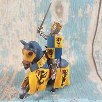 Schleich 2003 World Of Knights - Blue/Yellow Knight On Horseback Wielding Sword