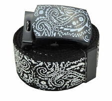 BLACK BANDANA BELT & BUCKLE CHICANO RAP CHOLO STYLE PAISLEY