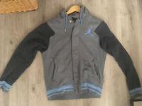 Men's Jordan Varsity Fleece Hoodie Jacket - Gray Light Blue, Size Small