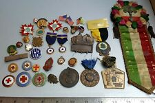 Old Vtg Mixed Lot Brass Ribbons Pins American Legion Red Cross Lions Religious