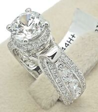 Women Ladies Solid Genuine 925 Sterling Silver CZ Cathedral Engage Promise Ring