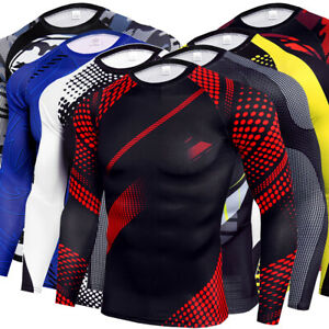 Mens Compression T-Shirt Tops Casual Sporty Long Sleeve Under Tee Tights Tunic
