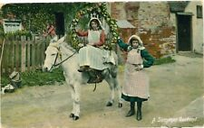 SUMMER GARLAND Two Girls Donkey Flowers Vintage Colour PC Newport Fife 1907