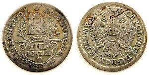 Alemania - Hamburg. 4 Shilling. 1727. Plata 2,9 g.