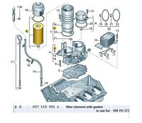NEW GENUINE VW TOUAREG AUDI A4 A6 A8 Q7 2.7 3.0 V6 QUATTRO OIL FILTER 057115561L