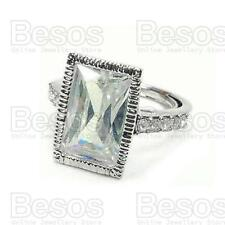 fashion white gold on brass Gift Uk Large Cz Stone cubic zirconia Ring silver
