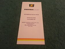 Oct 1981 ZASTAVA Yugo UK PRICE LIST 1100 1300 ZLM ZLC ZLX + E 3/5 DOOR BROCHURE