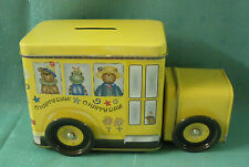 """School Bus Tin Bank moveable wheels -""""O HAPPY DAY"""""""