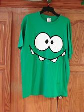 NEW MENS UNISEX GREEN CUT THE ROPE OM NOM SMILEY FACE T-SHIRT SIZE X-LARGE XL
