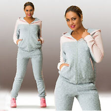 2Pcs Womens Tracksuit Hoodies Hoody Sweatshirt Pants Set Sport Wear Casual Suit