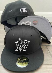 New Era Cap 59FIFTY Miami Marlins Black White Hat Fitted 5950  MLB NEW LOGO