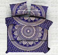 Indian Cotton Duvet Cover Ombre Mandala Bed Quilt King Size Blue Comforter Set