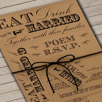 Personalised Vintage Wedding Invitations Set 'Vintage Fayre' Buff inc envelopes