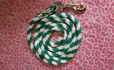Nylon Poly Miniature Horse or Pony Lead Rope Usa Made-kelley green and white