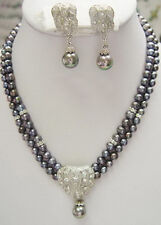 7-8mm Genuine Black Pearl 18KWGP Crystal Bridal Pendant Necklace Clip Earrings