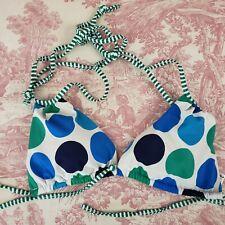 Arizona Bikini Top S Triangle Swimwear Removable Pads Blue Green Polka Dots