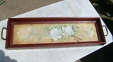 Antique Mahogany & Glass Vanity Tray Hand-Painted Roses on Silk 22 x 6-1/4