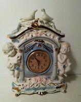 "Antique Mantle Clock Ceramic Porcelain Cherubs & Doves 11"" Tall Ornate Elegant"