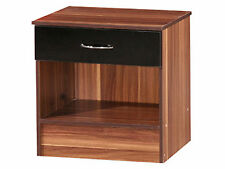 Alpha High Gloss 1 Drawer Bedside Cabinet - Black Gloss and French Walnut