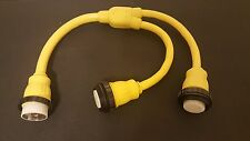 AMP UP 125/250v 50a Male 2 125 Volt 50 Amp Female Y Splitter Shore Power Adapter