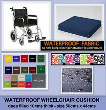 WATERPROOF WHEELCHAIR CUSHION 10cms DEEP FILLED SEAT PAD HOME GARDEN FURNITURE