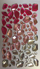 APPROX 80 GEM STONE STICKERS/SELF ADHESIVE ACRYLIC GEMS-MIXED COLOURS/CLEAR