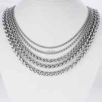 Gift Man Women Fashion 316L Stainless Steel 2mm-5mm Silver Chain Necklace