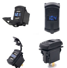 Blue 12V LED Rocker Push Switch Style Car Marine Boat Voltmeter Dual USB Charger