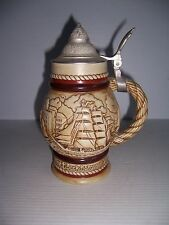 Vintage 1977 Avon Collectible Lidded Beer Stein Sailing Ships Schooners #855801